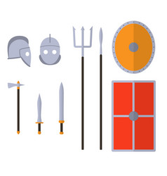 gladiator weapons and armors set ancient warrior vector image