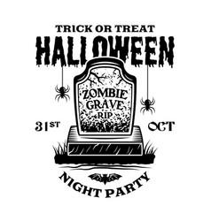 Halloween vintage emblem with zombie grave vector