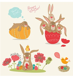 Hand-drawing pictures easter vector
