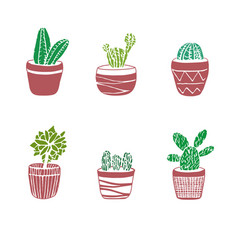 Hand drawn set cactus in pots vector