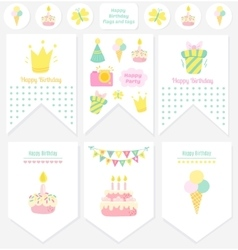 Happy Birthday flags and tags vector