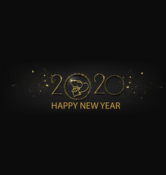 Happy new year 2020 gold and black collors vector