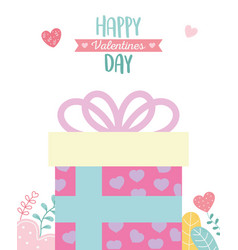 Happy valentines day wrapped gift box with hearts vector