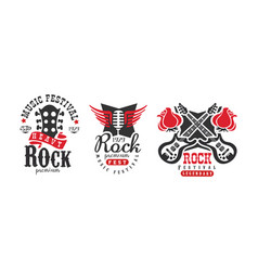 heavy rock fest logo templates set retro music vector image