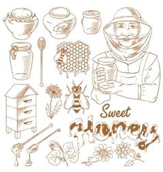 Honey monochrome icon set vector image