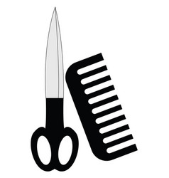 image black scissors and comb or color vector image