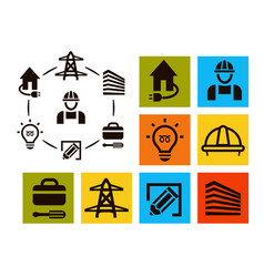 Isolated professional electrician icons set vector