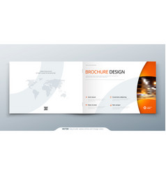 Landscape brochure design orange corporate vector