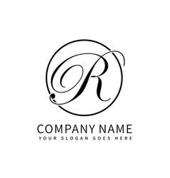 Letter r script initial luxury logo design vector
