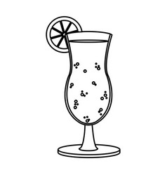 Line delicious cold beverage glass with lemon vector