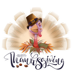 live fun turkey bird thanksgiving day poster vector image