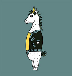 Lovely hand-drawn unicorn-rocker vector