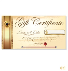 Luxury gift certificate template vector