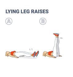 Lying leg raises female home workout exercise vector