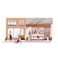 male vendor work at outdoor coffeeshop on modern vector image
