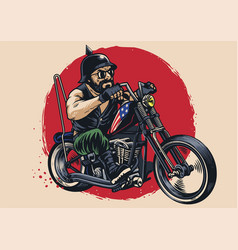 man riding a chopper motorcycle vector image