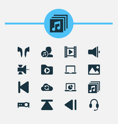media icons set with synchronize satellite vector image