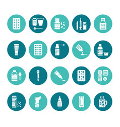 Medicines dosage forms glyph icons pharmacy vector