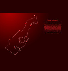 Monaco map from contours network red luminous vector