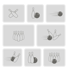 monochrome set with bowling icons vector image