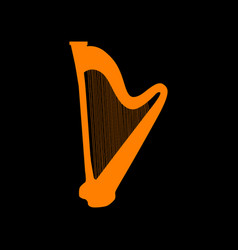 musical instrument harp sign orange icon on black vector image