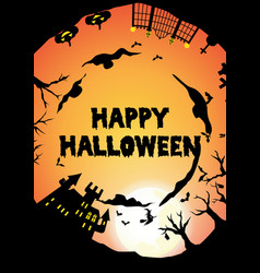 orange halloween party circle silhouette greeting vector image