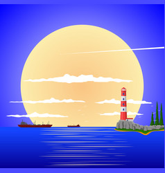 peaceful landscape against the sunset vector image