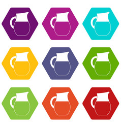 pitcher of milk icon set color hexahedron vector image