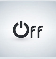 Power off word icon minimalistic simple flat vector