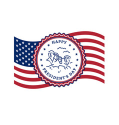 presidents day card usa flag and presidents day vector image