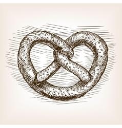 Pretzel hand drawn sketch style vector image