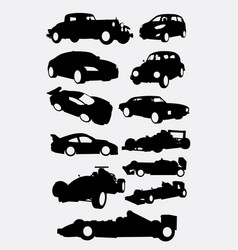 Race car and transportation silhouettes vector