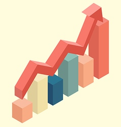 Red arrow growth with bar chart isometric vector image