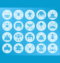 Robot shape carved flat icons set vector