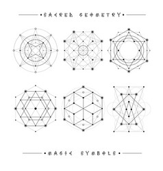 Sacred geometry signs set of symbols and elements vector