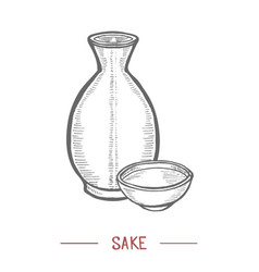 Sake in hand drawn style vector