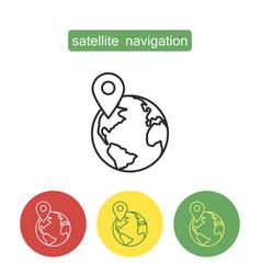 Satellite navigation outline icons set vector