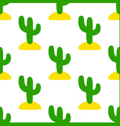 seamless decorative pattern with cute style cacti vector image
