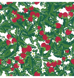 Seamless texture with strawberries and leaves vector