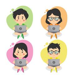 set children using computers vector image