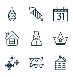 Set of 9 happy new year icons includes snow vector