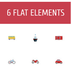 set of auto icons flat style symbols with bus vector image