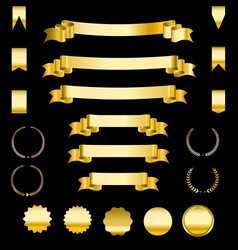 set of golden ribbons and labels heraldic banners vector image