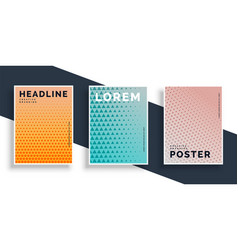 set of three poster flyers with pattern design vector image