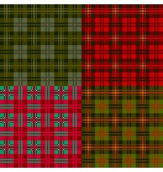 Set plaid patterns tartan fabric textile vector