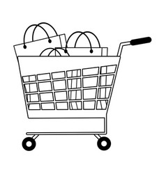 shopping cart with bags vector image