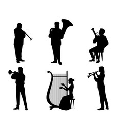 Silhouettes of orchestra musicians vector