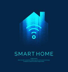 Smart home emblem for digital technologies vector