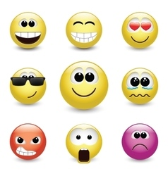Smiley faces expressing different feelings vector image