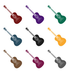 spanish acoustic guitar icon in black style vector image